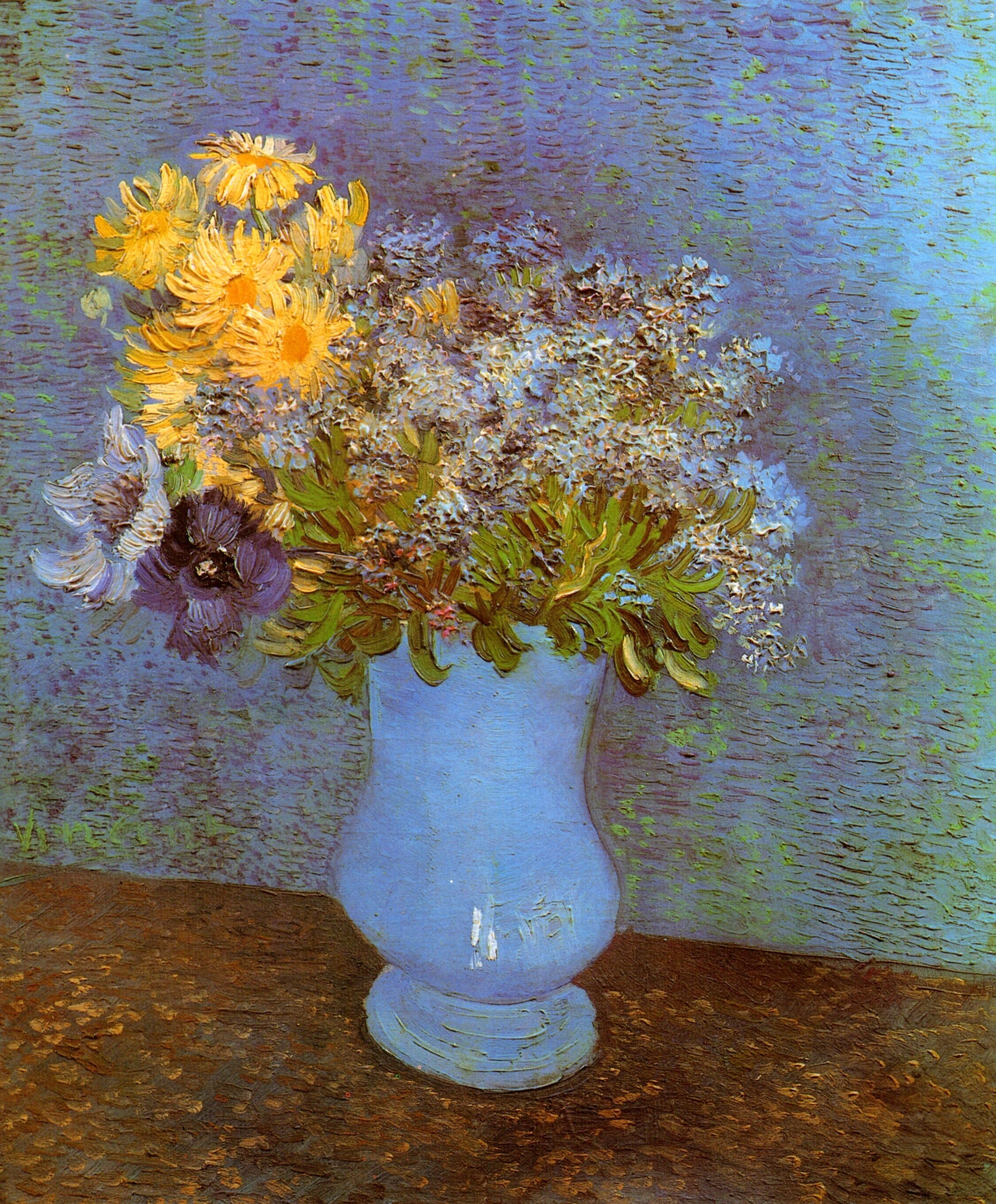 Vase with lilacs daisies and anemones 1887 vincent van gogh vase with lilacs daisies and anemones 1887 vincent van gogh reviewsmspy