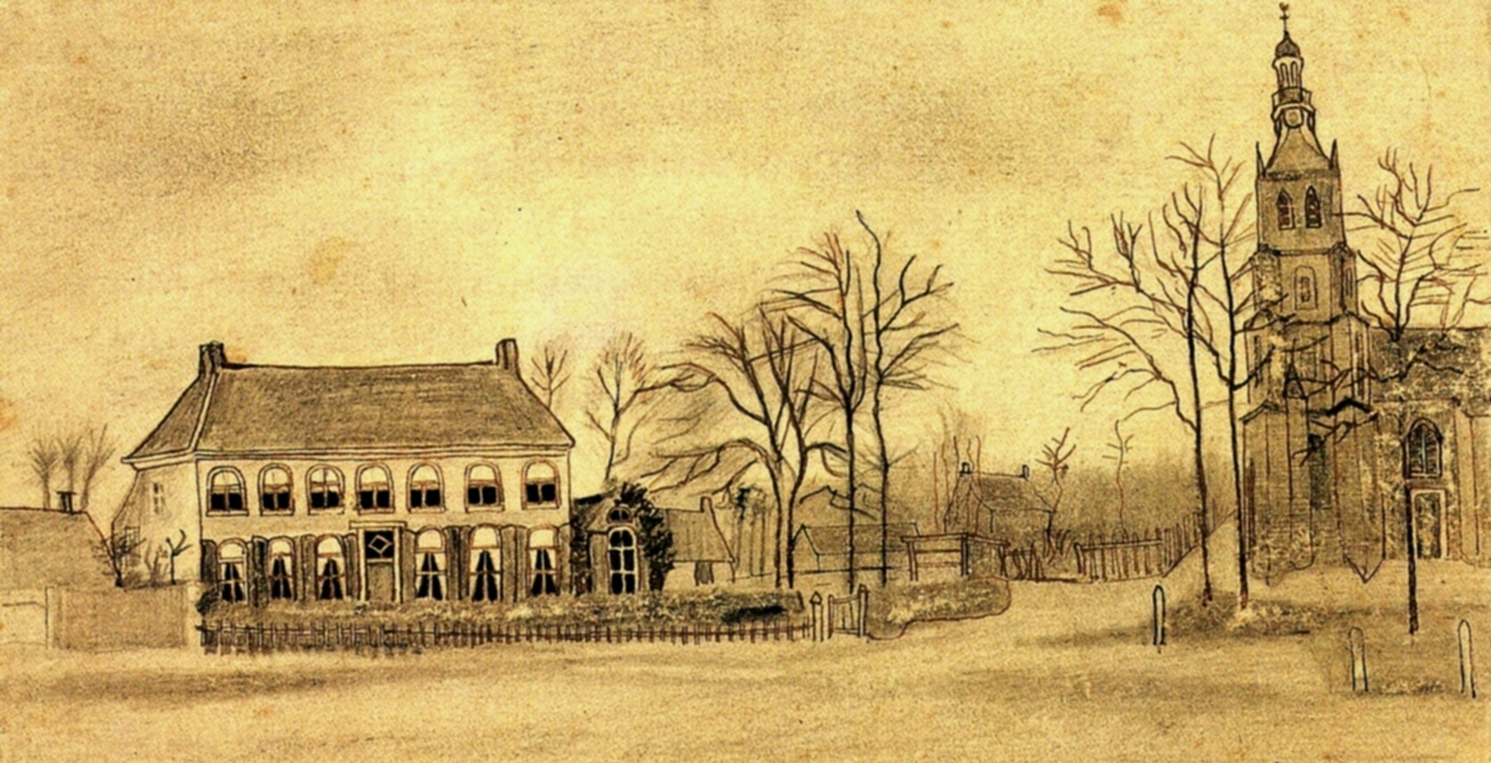Vicarage and Church at Etten, 1876