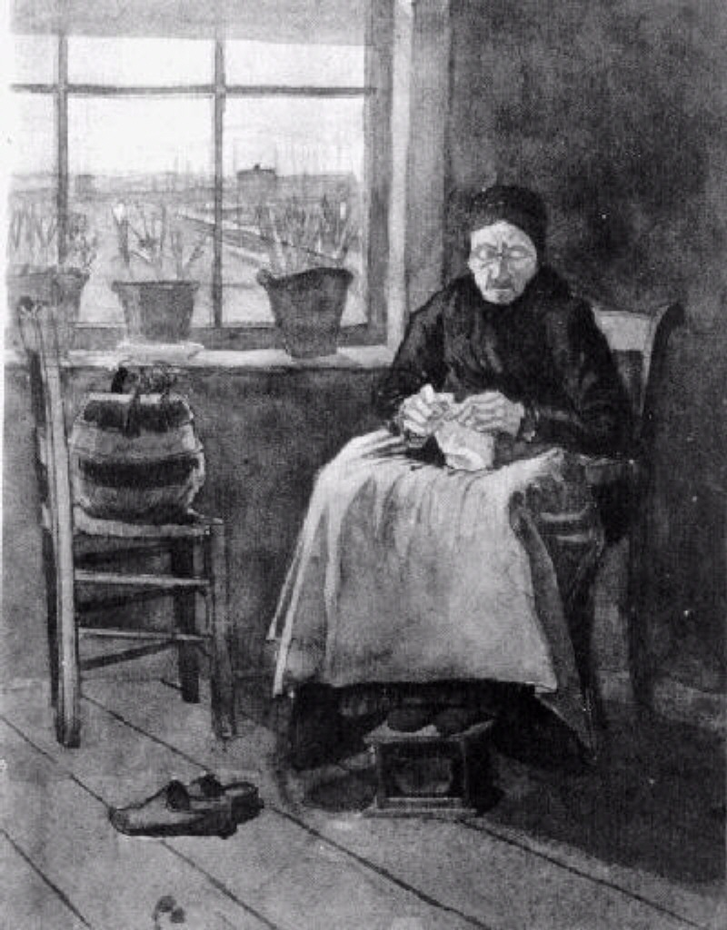 Old Knitting Woman : Woman at the window knitting vincent van gogh