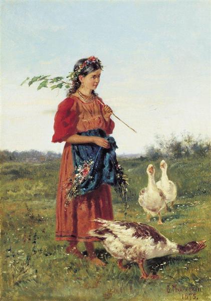 A girl with geese, 1875 - Володимир Маковський