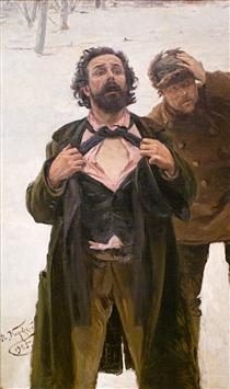 """Study to """"January 9, 1905 on Vasilyevsky island"""" - Vladímir Makovski"""