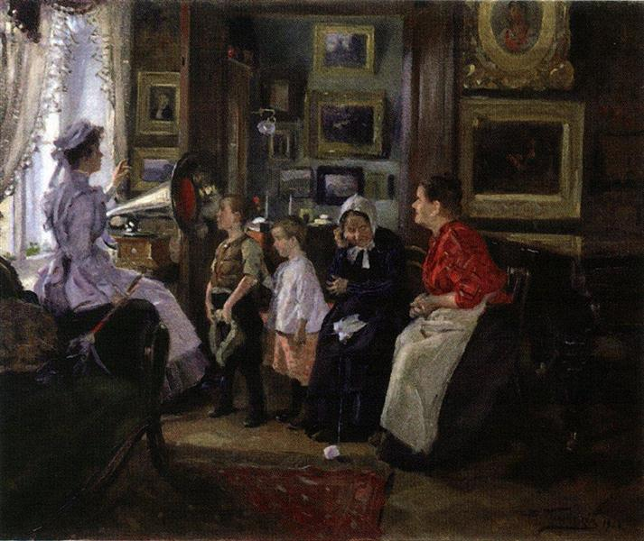 They listen the gramophone - Makovsky Vladimir