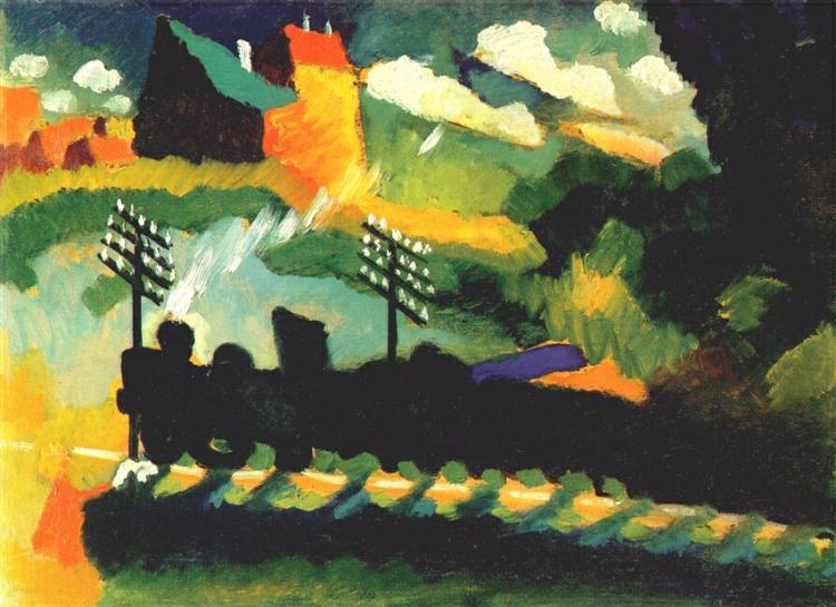 Murnau view with railway and castle, 1909 - Wassily Kandinsky