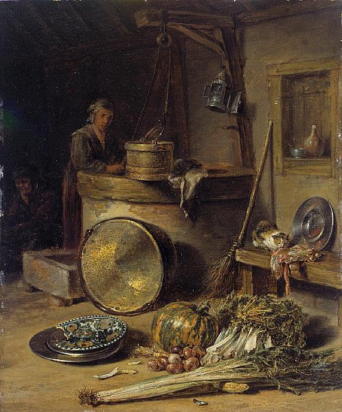 Peasant Interior with Woman at a Well - Willem Kalf