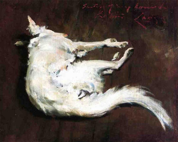 A Sketch of My Hound Kuttie, 1885 - William Merritt Chase