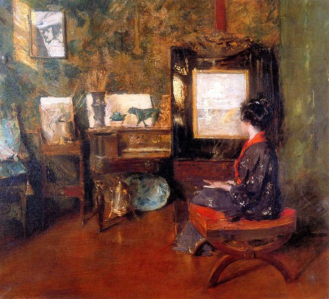 Alice in studio in Shinnecock Long Island Sun - William Merritt Chase