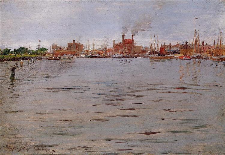 Harbor Scene, Brooklyn Docks, 1886 - William Merritt Chase