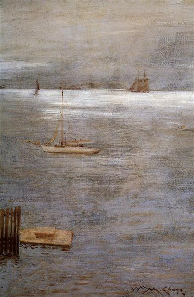 Sailboat at Anchor, c.1881 - William Merritt Chase