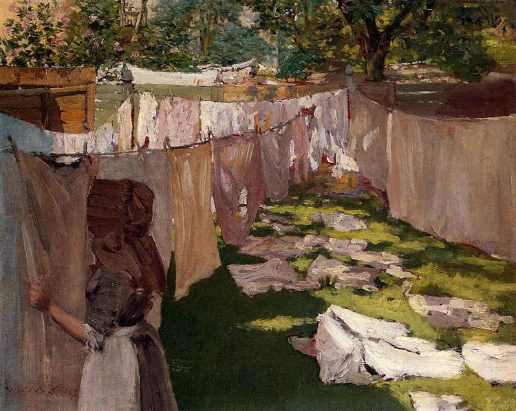 Wash Day - A Back Yard Reminiscence of Brooklyn, 1886 - William Merritt Chase