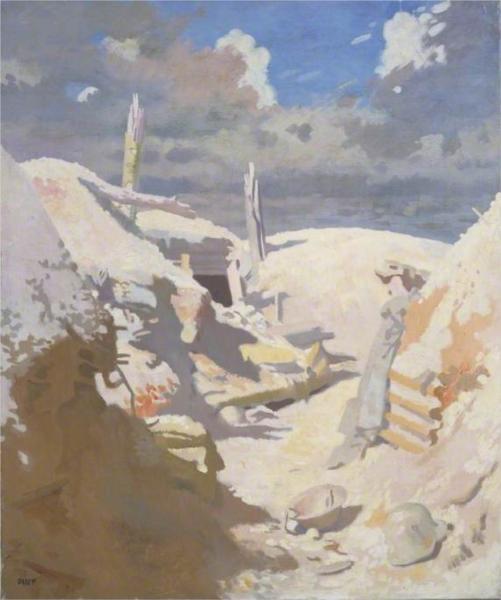 A Gunner's Shelter in a Trench, Thiepval, 1917 - William Orpen