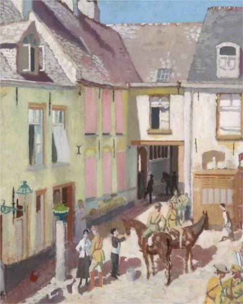 The Courtyard, Hotel Sauvage, Cassel, Nord, 1917 - William Orpen
