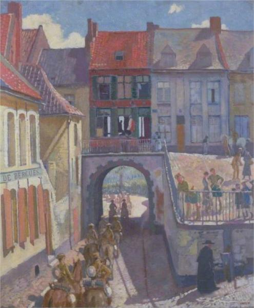 The Household Brigade Passing to the Ypres Salient, Cassel, 1917 - William Orpen