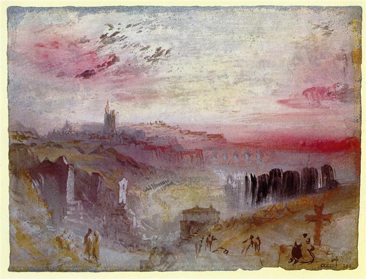 View over Town at Sunset: a Cemetery in the Foreground, 1832 - J.M.W. Turner