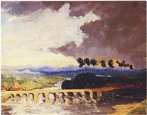 Storm over a Bridge in Southern France - Winston Churchill